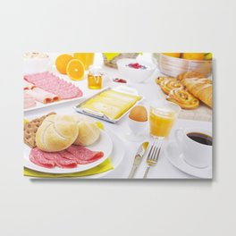 I - Table full with continental breakfast items, brightly lit Metal Print