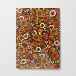 70s retro ditzy flowers, boho, browns, orange, hippie Metal Print