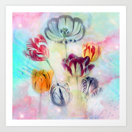 painted tulips on pastell background -c- Art Print