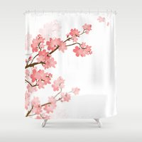 cherry Shower Curtains featuring Cherry by Ale Ibanez