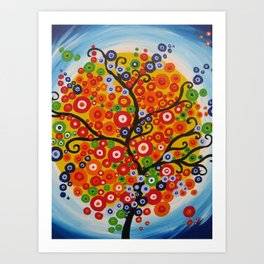 bright tree art -brazillian tree brazil , brasil , modern painting of a tree Art Print