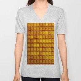 Orange Buddha glass plate Unisex V-Neck
