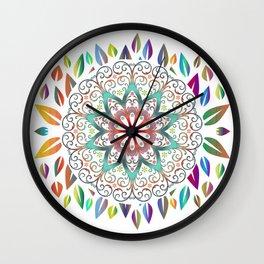 Colourful Leaves Mandala Design On White Wall Clock