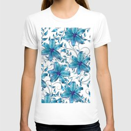 LILY AND VINES BLUE AND WHITE PATTERN T-shirt