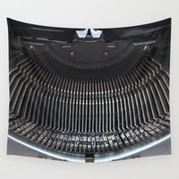 typewriter Wall Tapestries featuring OLD TYPEWRITER by CAPTAINSILVA
