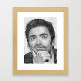 Hugh Jackman Traditional Portrait Print Framed Art Print