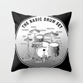 The Basic Drum Set Throw Pillow