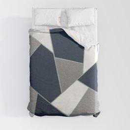 Navy Blue Gray White Mint Geometric Glam #1 #geo #decor #art #society6 Duvet Cover