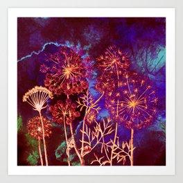 dandelions in the storm Art Print