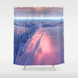Fractal Glacier Landscape Shower Curtain