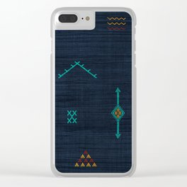 Cactus Silk Pattern in Navy Blue Clear iPhone Case