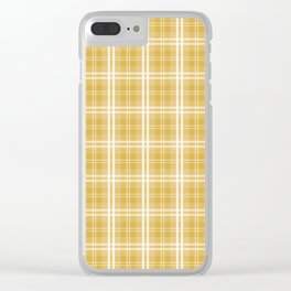 Fall 2016 Designer Color Mustard Yellow Tartan Plaid Check Clear iPhone Case
