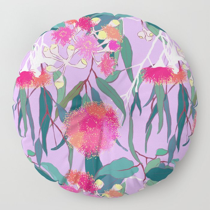 Australian Gumnut Eucalyptus Floral in Lilac Orchid Floor Pillow