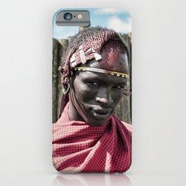 4117 Maasai Warrior Ngorongoro Tanzania iPhone Case