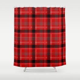 Red And Black Plaid Flannel Shower Curtain