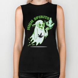 Funny Halloween Marijuana CBD Weed Smokers | Stoners & Potheads Biker Tank