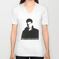 dean winchester V-neck T-shirts featuring Dean Winchester by TeganFanella