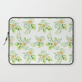 Elegant yellow green watercolor hand painted camellia pattern Laptop Sleeve