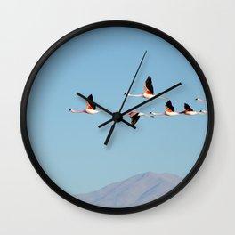 PINK FLAMINGO FLOCK IN THE DESERT Wall Clock
