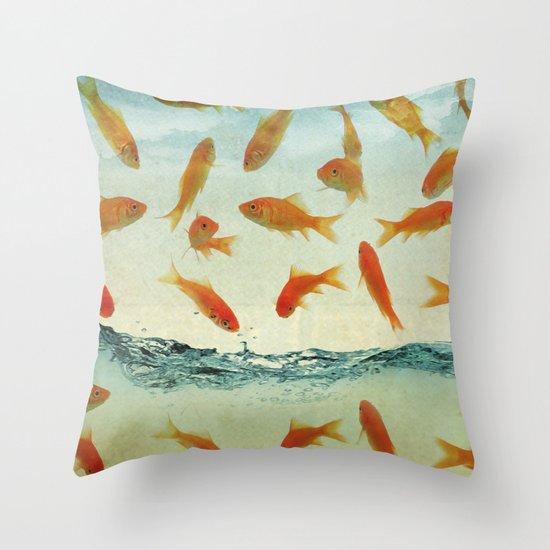 raining gold fish Throw Pillow
