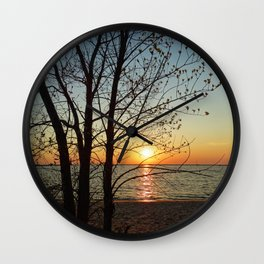 Sunset at Pere Marquette Beach Wall Clock