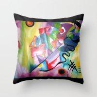 kandinsky Throw Pillows featuring KANDINSKY - oil painting by Heaven7