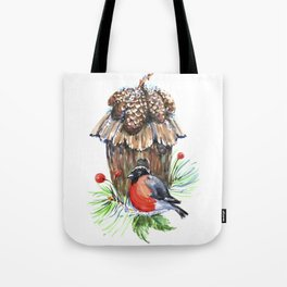 Bullfinch in the background of a cozy bird house. Tote Bag