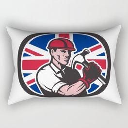 British Handyman Union Jack Flag Icon Rectangular Pillow