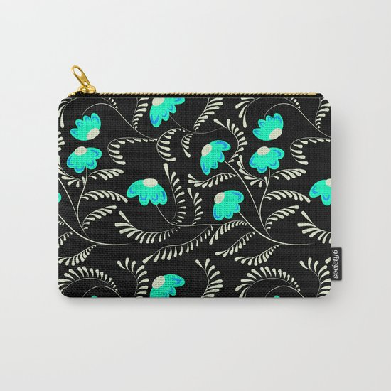 Retro . Turquoise flowers on a black background . Carry-All Pouch