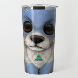 Cute Puppy Dog with flag of Nicaragua Travel Mug