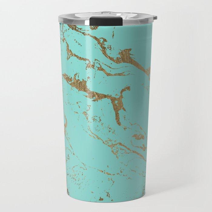 Modern teal gold marble pattern Travel Mug