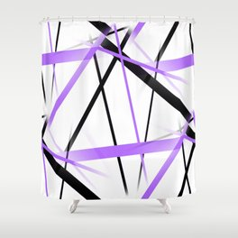 Criss Crossed Lilac and Black Stripes on White Shower Curtain