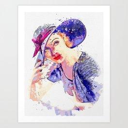 Carole Lombard watercolor by Ahmet Asar Art Print