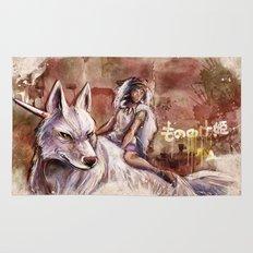 Miyazaki's Mononoke Hime - San and the Wolf TraDigital Painting Rug