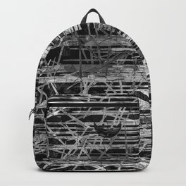 Modern Black and White Etching Abstract Lines Backpack