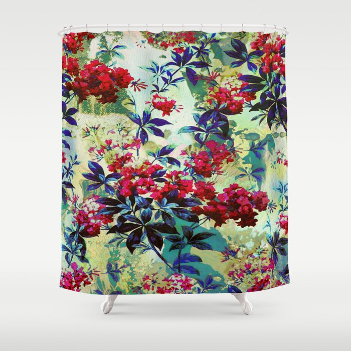 Pretty Red Flowers Shower Curtain