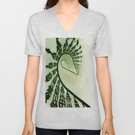 Beautiful staircase in green Unisex V-Neck