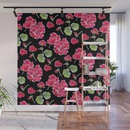 Geranium Pink and Black Wall Mural