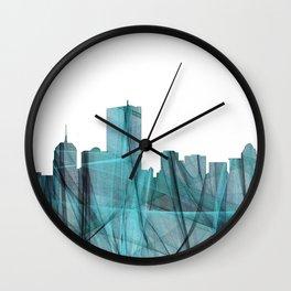 Boston Skyline - Turquoise Storm Wall Clock
