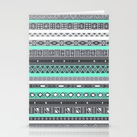 tiffany Stationery Cards featuring Tiffany Turquoise Aztec Print by RexLambo