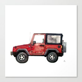 Red Jeep Wrangler from memory Canvas Print