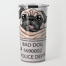 mugshot dog cartoon. Travel Mug