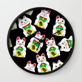 Funny Wise Lucky Rich Cats Wall Clock