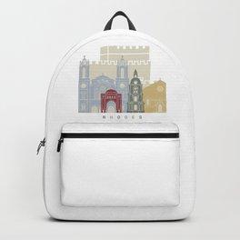Rhodes skyline poster Backpack