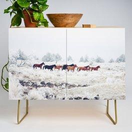 Winter Horse Herd Credenza