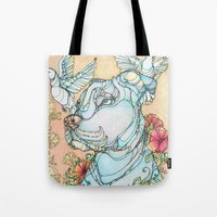 pitbull Tote Bags featuring Peaceful Pitbull by Kate Fitzpatrick