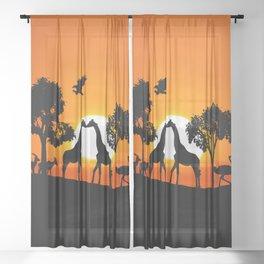 Giraffe silhouettes at sunset Sheer Curtain