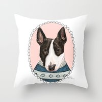 bull terrier Throw Pillows featuring Bull Terrier by Rhian Davie