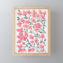 Cherry Blossoms – Pink & Black Palette Framed Mini Art Print