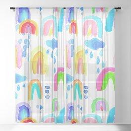 Stormy Rainbows in White Sheer Curtain